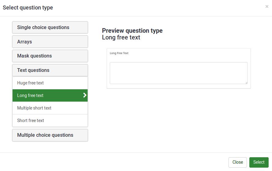 Question types - LimeSurvey Manual