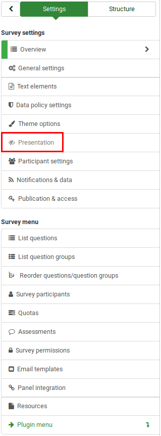 Survey menu - presentation and navigation settings.png