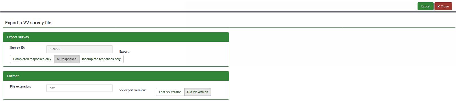Exporting results - LimeSurvey Manual