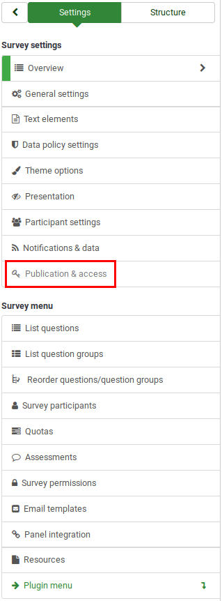 Survey menu - publication and access.png
